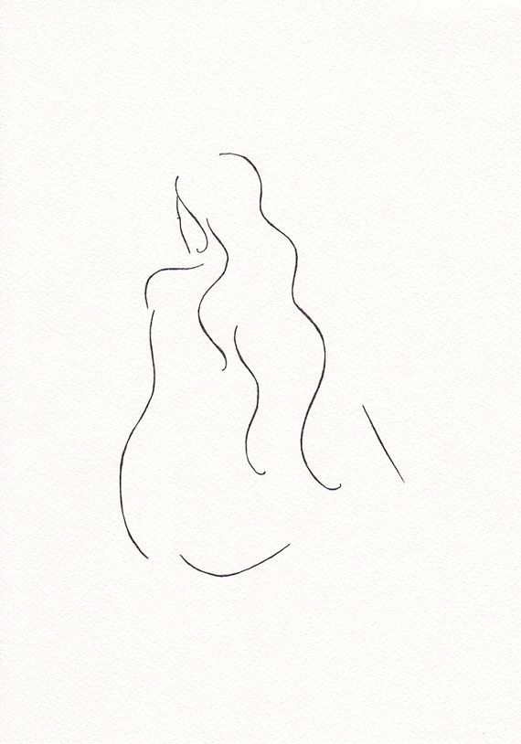 Original ink drawing of a female nude. Minimalist wall art by Siret Roots.