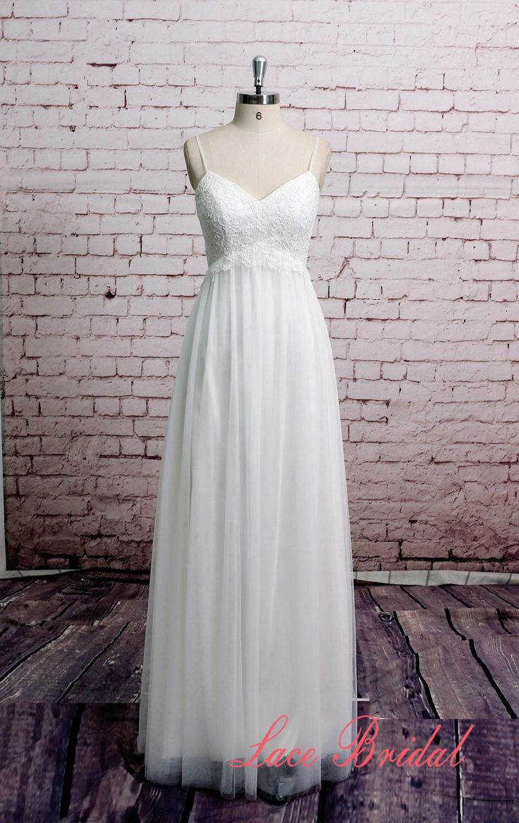 Spaghetti Straps Wedding Dress Tulle Skirt Bridal Gown Beach Style Wedding Dress A-line Outside Wedding Gown by LaceBridal on Etsy https://www.etsy.com/listing/269341435/spaghetti-straps-wedding-dress-tulle