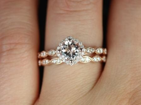 Love how unique and simple this is Katya 14kt Rose Gold Thin Morganite Kite Set Cushion Halo Wedding Set