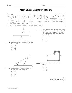 A ten-question, multiple choice quiz reviewing topics in plane geometry. An answer key for this quiz and for all of our quizzes is also available for download: SAT Math Quiz Answer Keys.