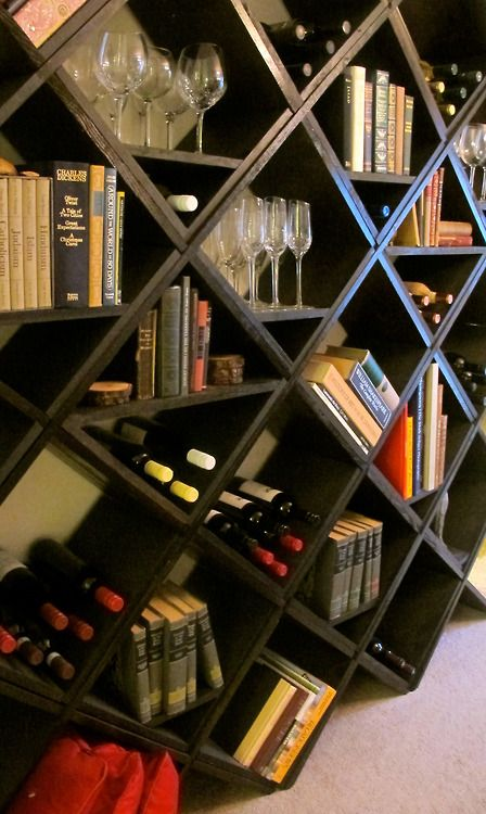 Wine rack + book shelf For the Home Pinterest Wine