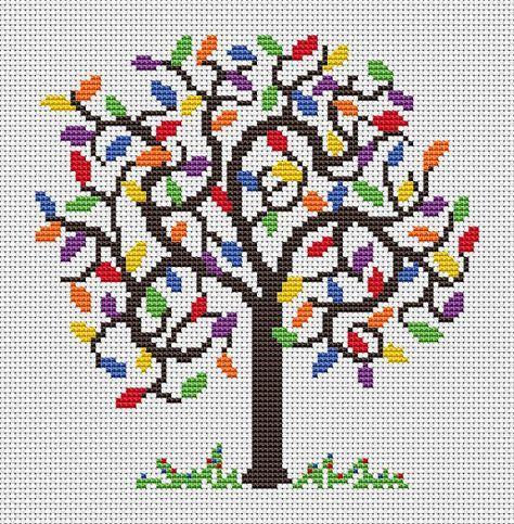 Rainbow tree cross stitch pattern fantasy by ClimbingGoatDesigns