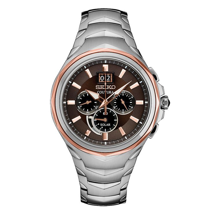 Seiko Coutura Solar SSC628 - Cabochon crown, Rose gold highlights Powered by light energy, 6-month power reserve when charged LumiBrite hands & markers