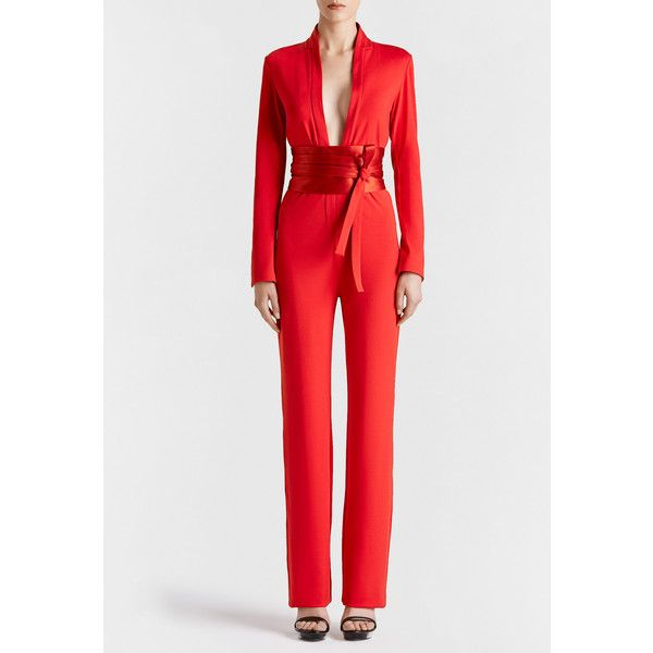 La Perla Essentials Essentials Bi-Stretch Silk Jersey Jumpsuit featuring polyvore women's fashion clothing jumpsuits red special occasion jumpsuits jump suit red jumpsuit red jump suit holiday jumpsuits