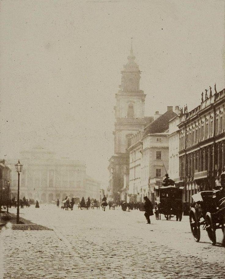 Krakowskie Przedmieście ;) fot. 1862r., Karol Beyer, źr. fotopolska.eu