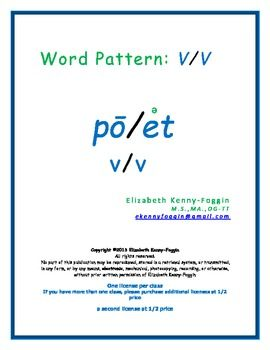 This lesson is based on Orton Gillingham Multisensory Language Development principles.   Many students, whether struggling, or advanced, benefit from the ability to decode words through syllabication breakdown.   It is important to identify the word pattern.
