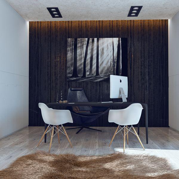Minimalistisches Design von einer Junggesellenbude zeigt eine minimalistische Stimmung
