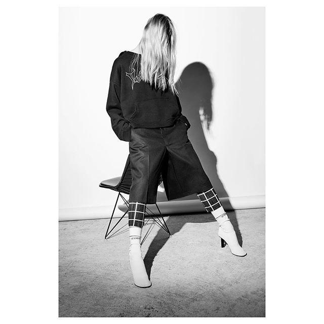 The Look #OOTD @vetements_official  #Photography @MalinaCorpadean #Styling & #CreativeDirection @AnnieHorth #HM @NicolasBlanchett @FolioMontreal #Model @stephanie_lyne @EliteModels  Vetements Hoodie Sweatshirt in Black  Vetements Workwear Shorts  Issey Miyake Pleats Please Grid Line Pants  Vetements Sock Boots in White  #vetementsparis #ss16 #montreal #cahierdexercices #isseymiyakepleatsplease
