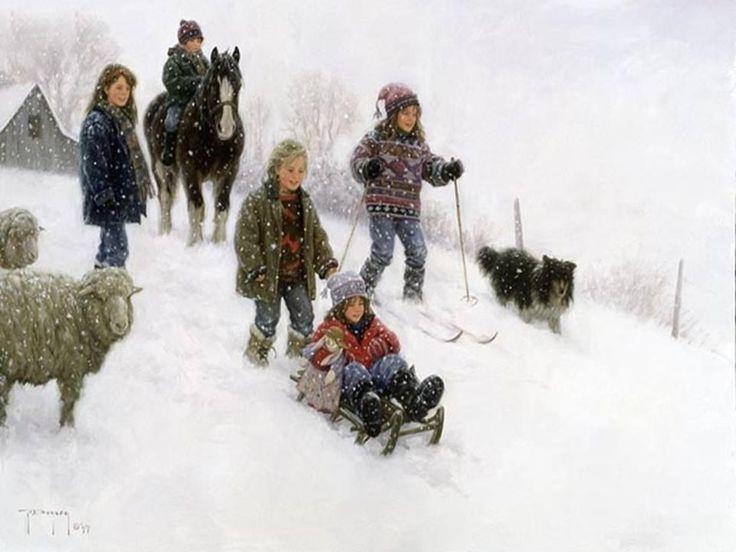 Зима. Robert Duncan. Картинки для декупажа. Часть 2. Зимние игры в сельской местности. : На крыльях вдохновения
