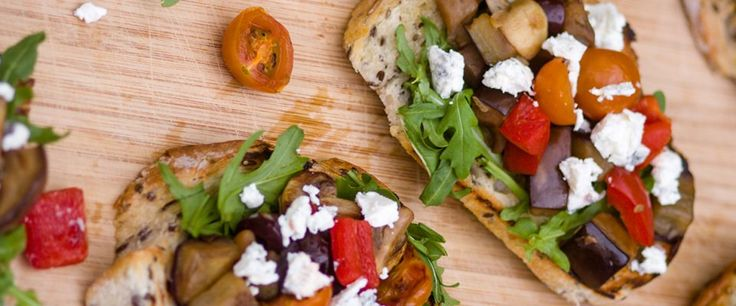 Mediterranean style eggplant bruschetta with goats cheese - recipe courtesy of Ash Dunford, student dietitian.