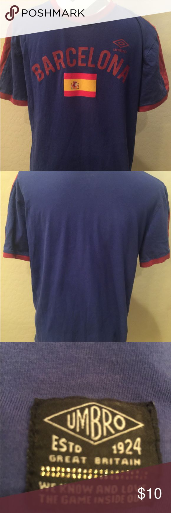 Authentic Umbro Blue & red Barcelona soccer tee Authentic Umbro Blue & red Barcelona soccer tee Size M excellent condition Umbro Shirts Tees - Short Sleeve