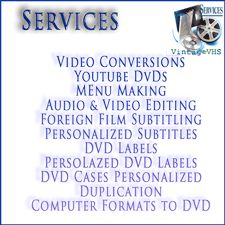 Home movie services for Vintage VHS. http://www.vintagevhs.net video conversion of home movies into DVDs or blurays