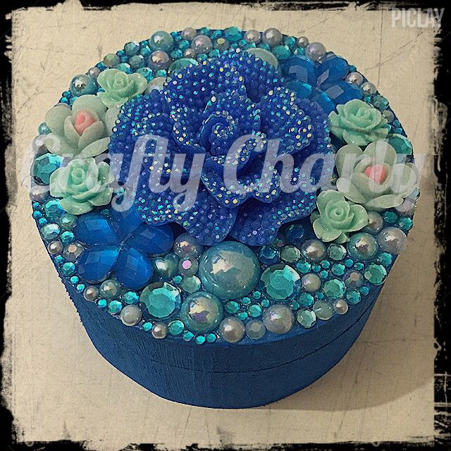 """Blue """"Flower Power & Encrusted"""" design wooden trinket box (8x8x4cm) available now, £10 inc postage from www.fb.com/craftycharly  #craftycharly #newmakes #CCC #barnsley #madeinyorkshire #decoden #trinketbox #blue #handmade"""