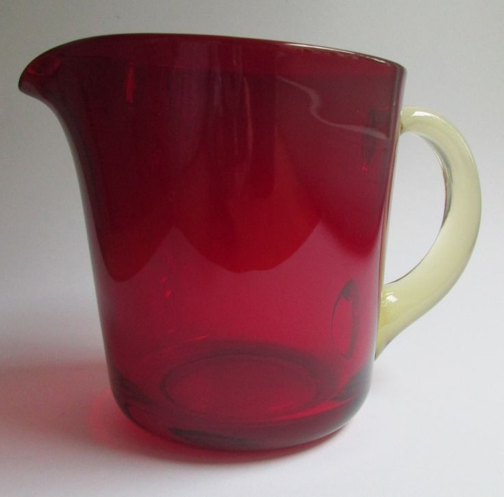 Ruby red glass pitcher (jug) 75 cl., designed in 1954 by Kaj Franck for Nuutajärvi Notsjö Finland by SCALDESIGN on Etsy