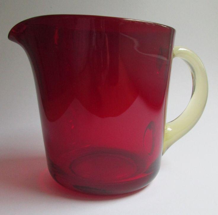 Ruby red glass pitcher (jug) 75 cl., designed in 1954 by Kaj Franck for Nuutajärvi Notsjö Finland by SCALDESIGN on Etsy