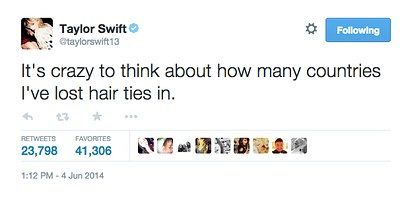 When she could relate to the constant struggle of a rogue hair tie: | 21 Taylor Swift Tweets That Prove She's Always Said What You Were Thinking