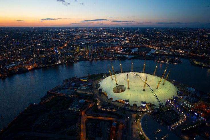 The O2 Arena, in Greenwich, London, showing the new sky walkway across the top of the dome. How cool is that!!!!