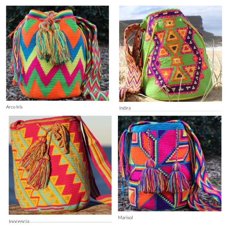 4 Beautiful Mobolso Wayuu Mochilas. :) Which one is your favourite? #handmade #oneofakind #wayuu #mochila #handbag #summer #color #colour #beautiful #patterns #boho #beach #vintage #design #australia #sydney #perth #brisbane #melbourne #style