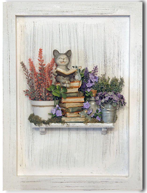 Купить Интерьерное панно Сказки на ночь - белый, прованс, Сказки, дети, кот, мышь