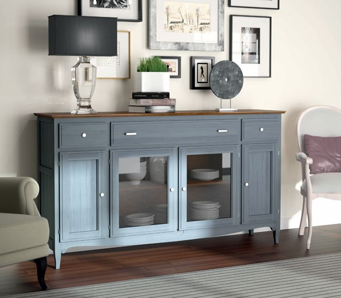 #Aparador 4 puertas y 3 cajones original en color azul Mediterraneo y encimera color cerezo, #muebles #clasicos en: http://rusticocolonial.es/mueble-clasico/muebles-de-sal%C3%B3n-cl%C3%A1sicos/busca-tu-mueble-de-sal%C3%B3n-cl%C3%A1sico-por-colecciones/coleccion-fontana-2/aparador-clasico-madera-ref-3571-detail