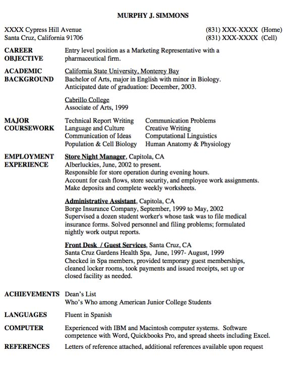 Sample Entry Level Marketing Resume | Resume Cv Cover Letter