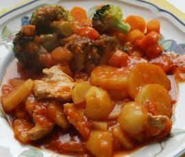 All-In Mamas Allerlei (Kartoffeln, Möhren, Broccoli, Putenfilet) Low fat