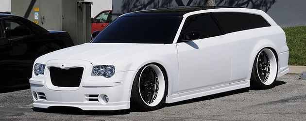 Nomag: 2 Door Dodge Magnum with Chrysler 300C front conversion, body-shave treatment, Tommy Z Designs body kit and many more features. I've always loved the Chrysler 300C and the Dodge Magnum. But this combines the best of both worlds! Truly a magnificent ride.
