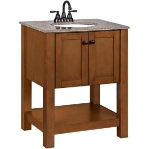 Downstairs Bathroom: American Classics Palisades 27 In. W Vanity In Bourbon  Cherry With Granite Vanity Top In Taupe With White At The Home Depo.