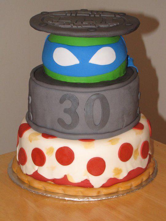 TMNT Teenage mutant ninja turtles cake - 30th bday TMNT cake , covered in fondant , lid is cardboard round covered in fondant