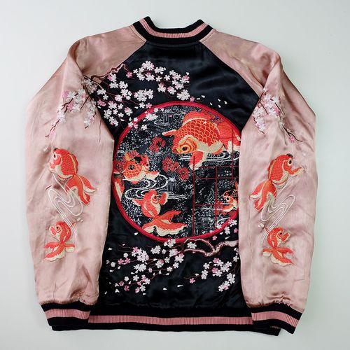 Japanese Vintage Script Salmon Pink Blue Goldfish Sakura Cherry Blossoms Art Embroidery Embroidered Satin Souvenir Sukajan Jacket