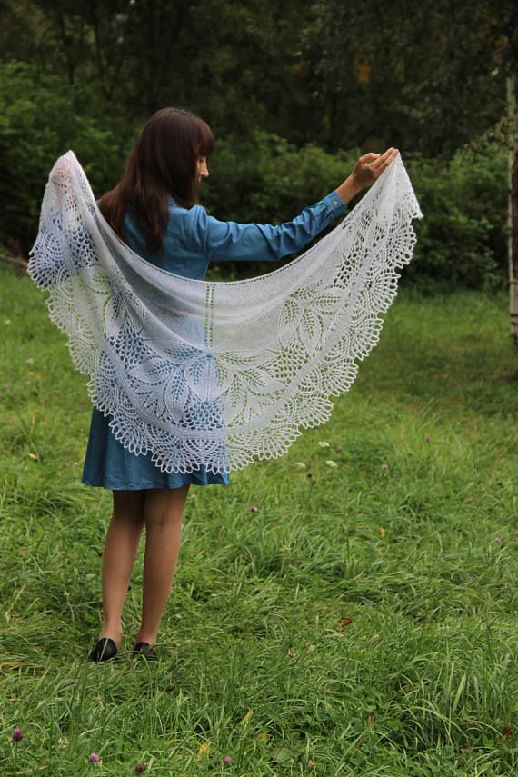 Wedding Lace Shawl in white color. Made from Kid Mohair Silk