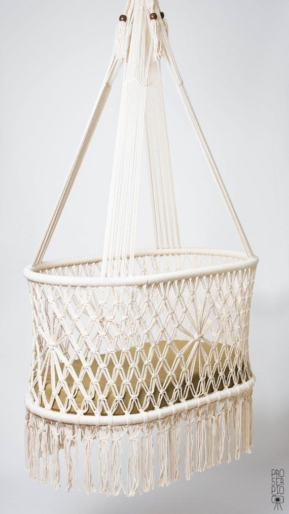 """PREORDER OF Hanging Crib in Macrame, Oval Shape, Cream color cotton ropes. High Quality. L36""""x W21"""", Fair Trade handicraft. 100%NATURAL"""