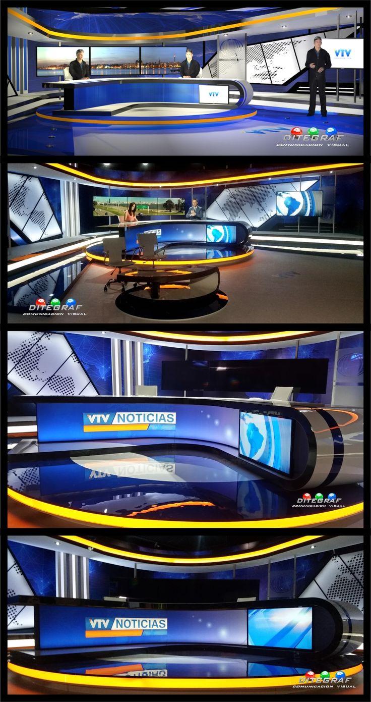 Diseño y realización de escenografía para el noticiero VTV Noticias. Montevideo - Uruguay