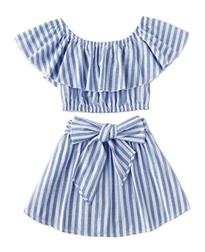 5f082c737f06f Greenafter Toddler Girl Stripe Off-Shouler Tube Top + Pant Set Outfit  (Blue(Skirt Set), 4-5Years)
