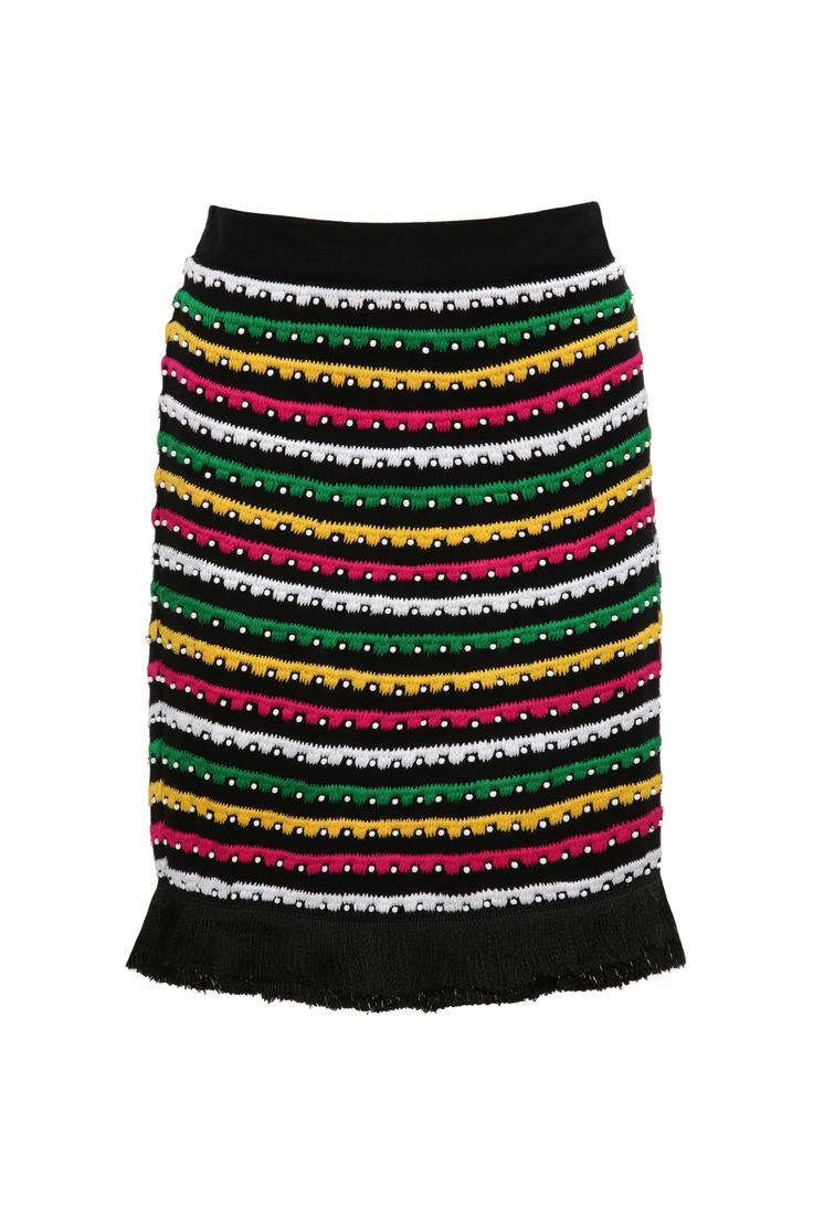 New Hippie Chic – Blugirl Spring Summer 2017 • Viscose Skirt With Ethnic Patterns • A gypsy-inspired viscose skirt with appliqués and multicolored embroidery.