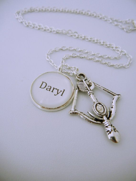 The Walking Dead Inspired- Daryl Dixon Bow and arrow charm necklace on Etsy, $20.13 CAD