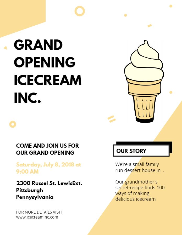 small business ice cream parlor grand opening event flyer poster
