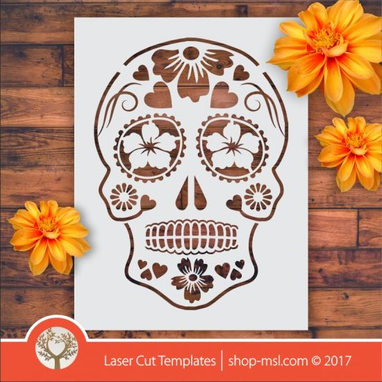 Product Sugar skull laser stencil cut template. shop online for vector patterns, free designs every day. Sugar Skull Stencil 06 @ shop-msl.com