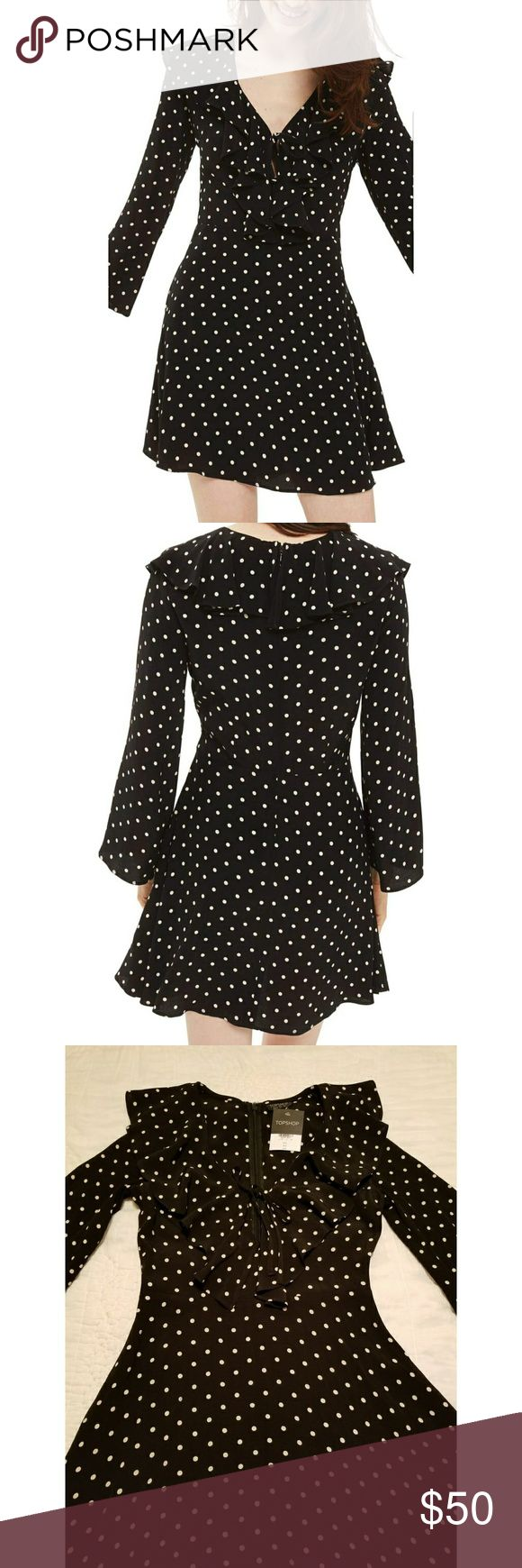 """SALE Topshop Dress NWT US2 Polka dots and ruffles add girlish charm to an A-line minidress detailed with a tied keyhole at the V-neck and long, flared sleeves.  35"""" length Back zip closure V-neck with tie keyhole closure Flared long sleeves 100% viscose Machine wash, dry flat  Original price is $90 Reasonable offers welcome. Topshop Dresses Mini"""