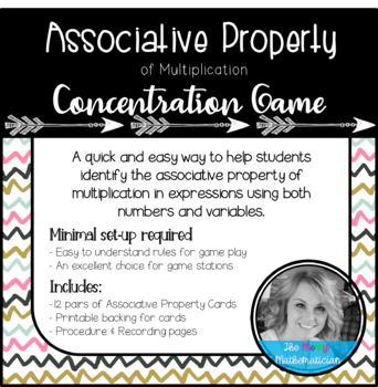 """A quick and easy way to help students identify the Associative Property! Minimal set-up required! Easy to understand rules for game play. An excellent choice for math stations! Includes: 12 pairs of """"Associative Property Concentration"""" cards Printable backing for"""