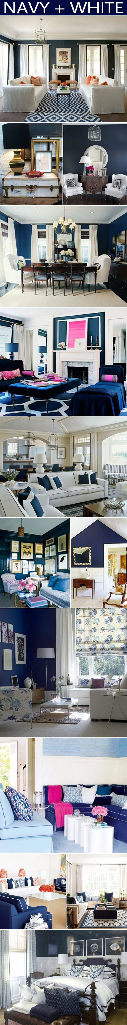 Navy and white colour scheme, so mordern refreshing and beautiful!