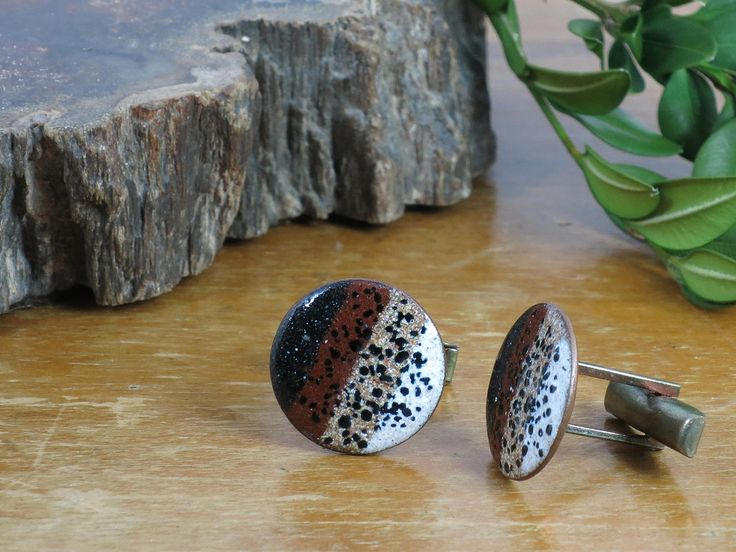 Harvey Avedon Enamel Copper Cuff Links - Brown, White, Black Striped Spotted Enameled Copper Cufflinks - Geometric Abstract Enamel Copper by EightMileVintage on Etsy