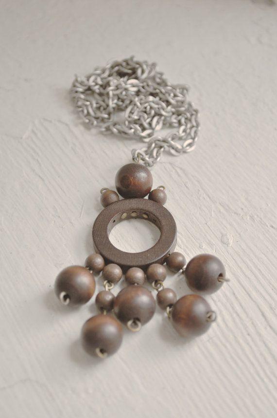 AARIKKA of Finland Kinetic brown wood pendant by Scandimania, $45.00