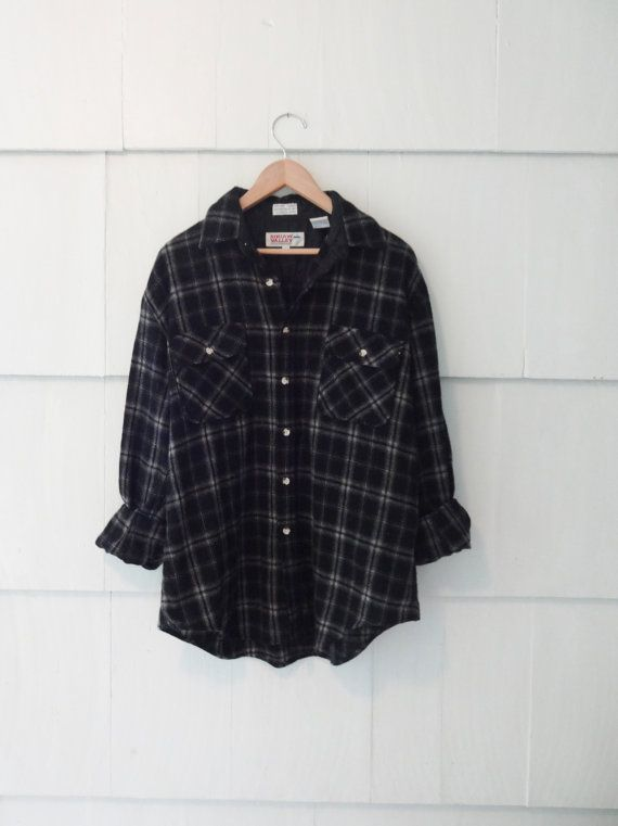 Vintage Oversized Flannel Shirt- Black and Grey
