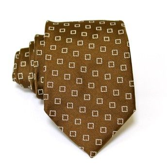 Jacquard tie, 100% silk, brown with white microdesign in squares. Ideal for less formal occasions but also special occasions. Pattern and color of this elegant tie can fit with any outfit.