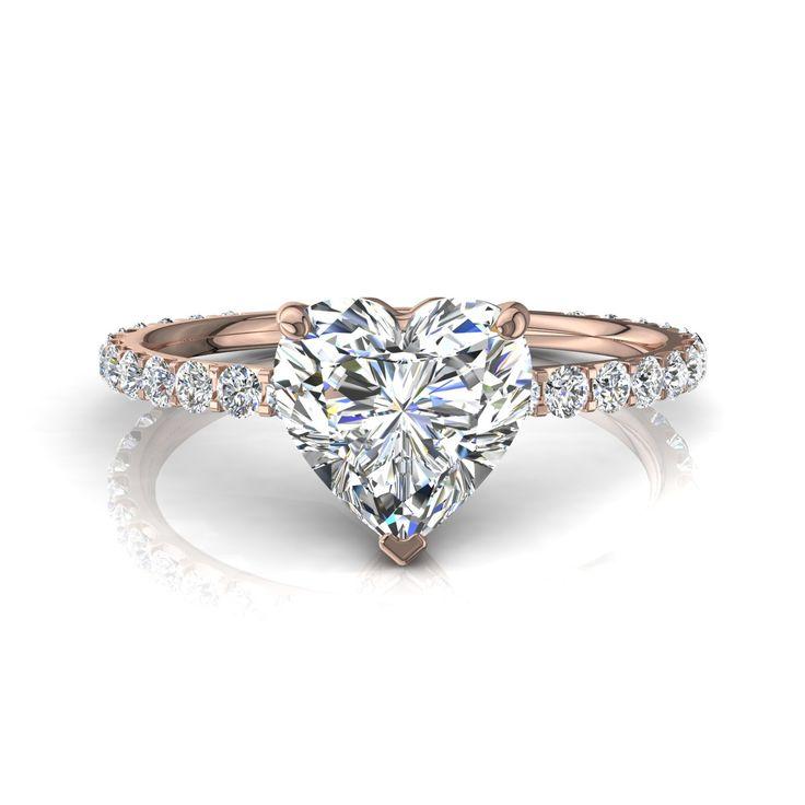 Bague de fiançailles pour femme, solitaire bague diamant coeur 0,90 carats or rose Valentine-coeur  #diamants #BagueDeFiancaille #PendentifDiamantElena #BagueDiamantRond #SolitaireBagueDiamant #Over500 #Solitaire4Griffes #PendentifDiamant #diamantsetcarats #capucine
