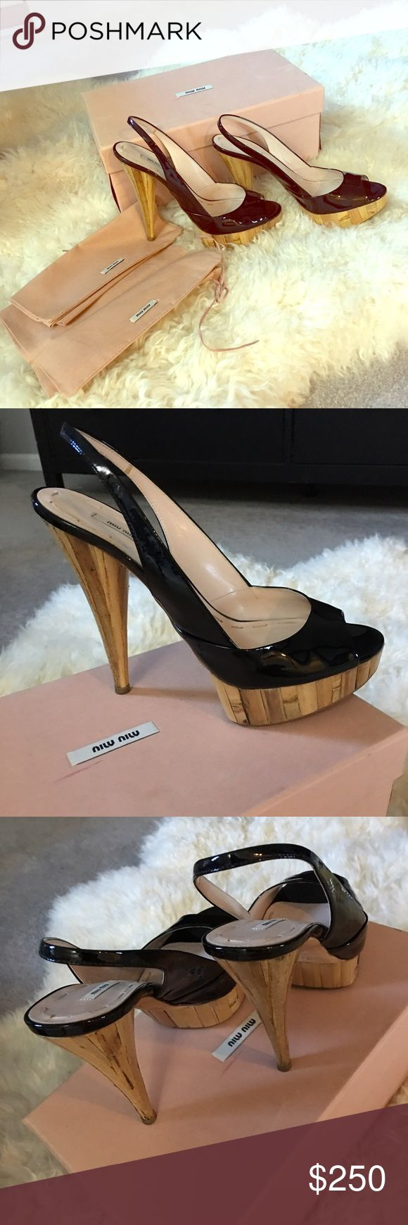 Miu miu wooden platform slingback sandal Never worn outside just tried it inside the house :) ... one of a kind wooden heels .. Miu Miu Shoes Platforms