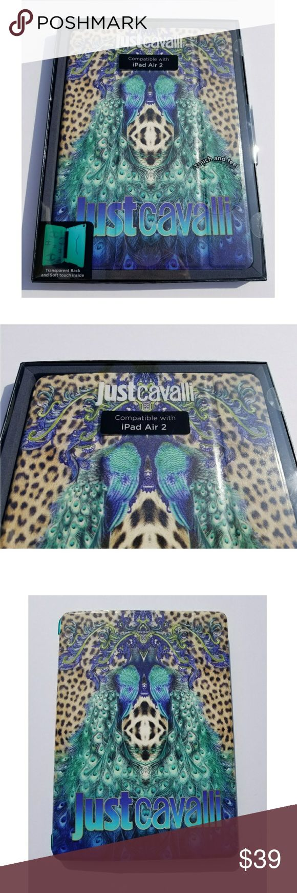 Just Cavalli Case iPad Air 2 Model Leopard Peacock Gorgeous 100% genuine Just Cavalli leopard peacock design Ipad air case. Ultra slim magnetic smart front cover and smooth transparent ultra slim protective hard back case. Soft touch inside cover. Auto wake/sleep function the Ipad automatically goes to sleep mode when you shut the front cover and restarts when you open itagain. Metal Just Cavalli logo on the front cover.BRAND NEW in a sealed box 100% GENUINE!! *All sales are final! So I'll…
