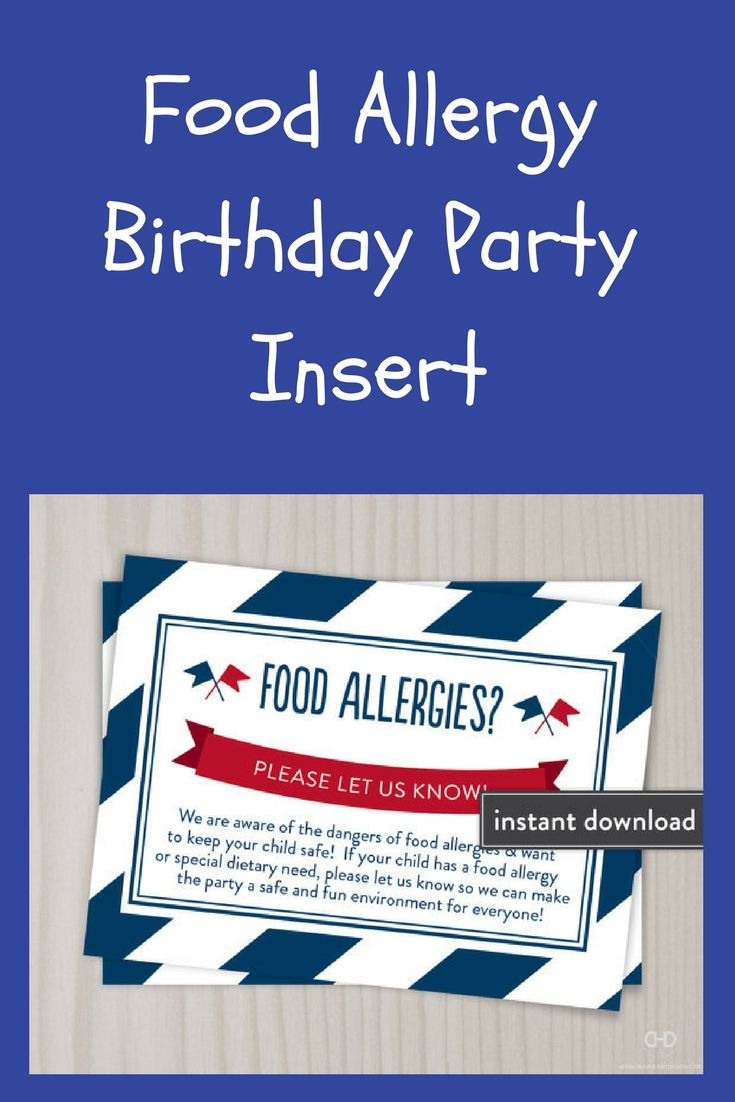 FOOD ALLERGY BIRTHDAY PARTY INSERT