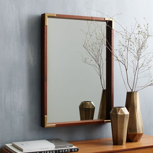 West Elm Malone Campaign Wall Mirror Walnut Union